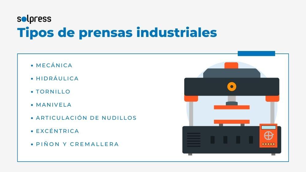 Tipos de prensas industriales solpress barcelona